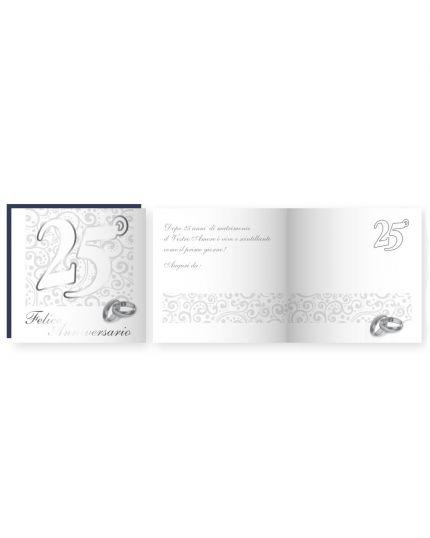 Biglietto Auguri Musicale con Busta 25° Anniversario Nozze Argento 15x15cm