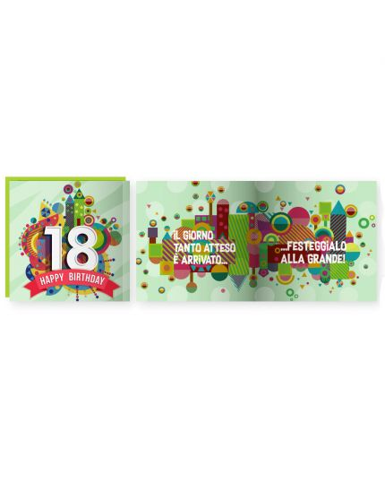 Biglietto Auguri Musicale con Busta Compleanno 18 Anni 15x15cm