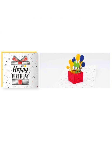 Biglietto Auguri Origami con Busta Happy Birthday Balloon con Suoni 15x15cm