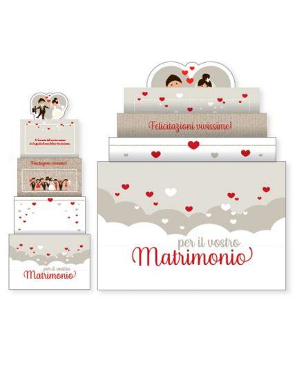 Biglietto Auguri Matrimonio Upper con Luci e Suoni con Cuoricini Rossi 16x14cm