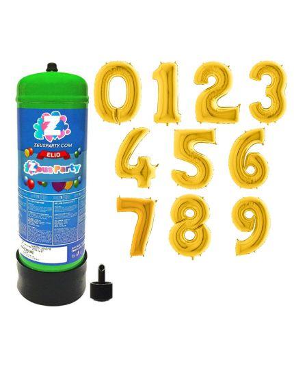 Bombola Gas Elio per 30 Palloncini con Palloncino Numero Oro 90cm