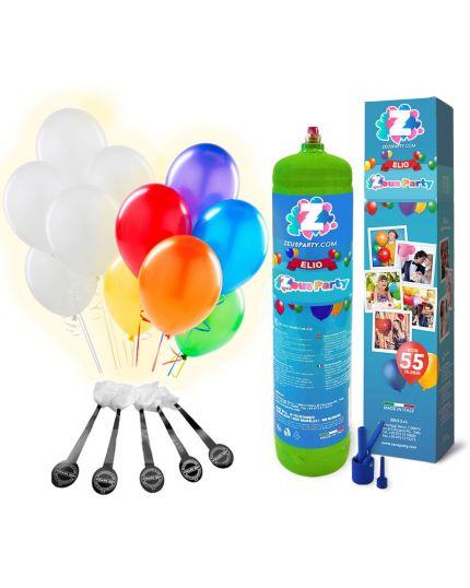 Bombola Elio per 55 Palloncini con 10 Palloncini LED e 55 Multicolor