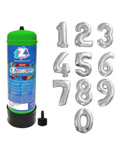Bombola Gas Elio per 30 Palloncini con Palloncino Numero Argento 90cm