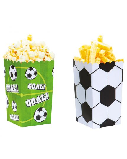 Box Contenitori Pop Corn o Patatine Palloni da Calcio Goal Decora 6pz