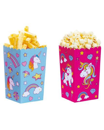 Box Contenitori Pop Corn o Patatine Unicorno Rosa e Celeste Decora 6pz