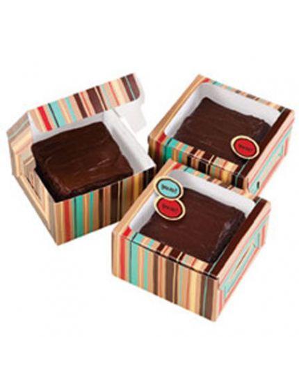 Set Tre Mini Scatole Gift Box Brownie 9cm Righe Multicolor Wilton