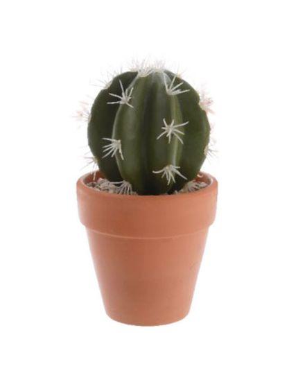 Cactus Piantina Grassa Sintetica in Vaso Terracotta Extra Realistica 15cm