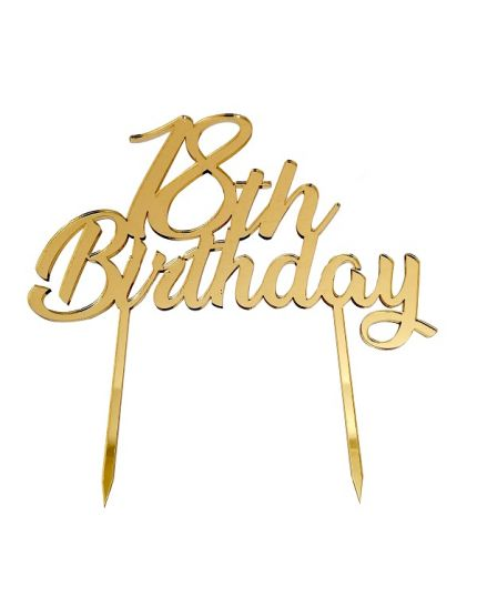 Sopratorta Cake Topper Pvc 18 Birthday Oro 19cm