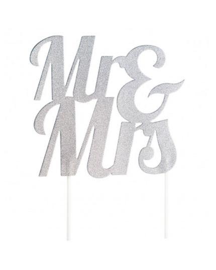 Sopratorta Cake Topper Pvc Glitter Matrimonio Mr & Mrs 24cm