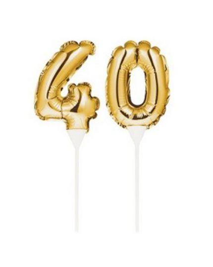 Sopratorta Palloncino Foil Numero 40 Oro 22cm