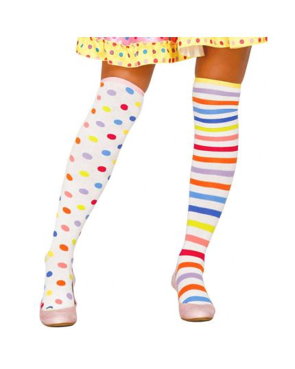 Calze Parigine Clown Righe e Pois Multicolor
