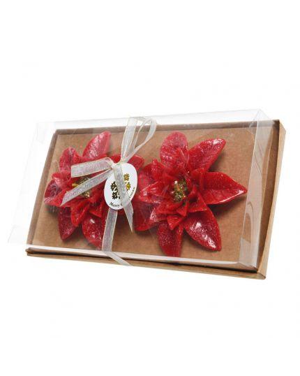 Candele Stelle di Natale Rosse con Glitter 11cm