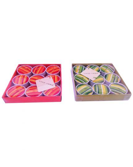 Candele Tealight Righe Colorate 9 Pezzi 4cm