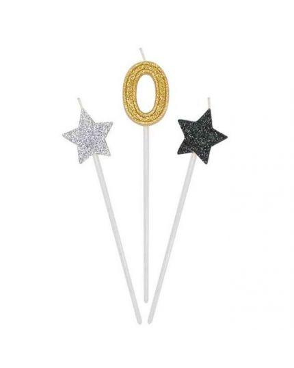 Candeline Prestige su Stelo Numero Oro con Stelline Nero e Argento