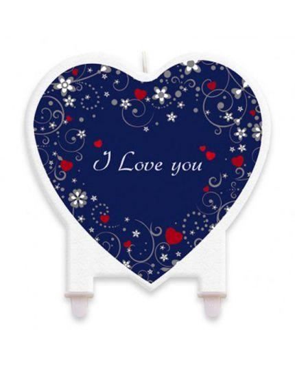 Candelina Sagomata Cuore Love Message
