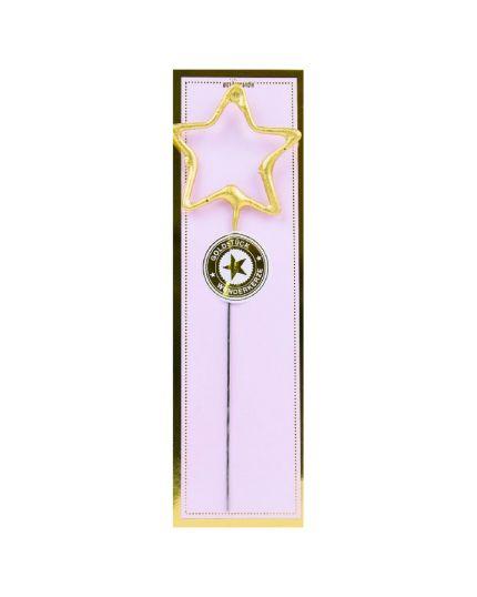 Candelina Scintillante Stella Oro 18cm