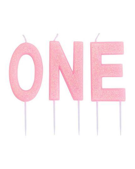 Candeline Glitter Scritta ONE Primo Compleanno Colorate