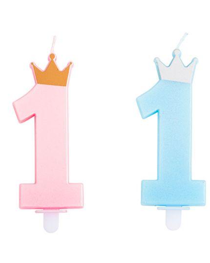Candelina Numero Uno Primo Compleanno Colorata con Corona