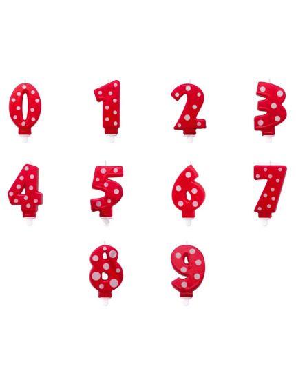 Candelina Numero Pois Rosso