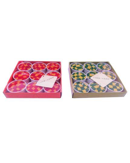 Candele Tealight Quadretti Colorati 9 Pezzi 4cm