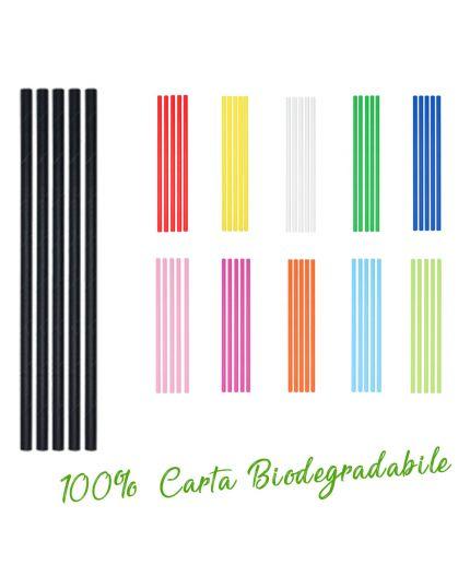Cannucce per Cocktail Colorate in Carta 100% Biodegradabile Ecolor Scelta Naturale