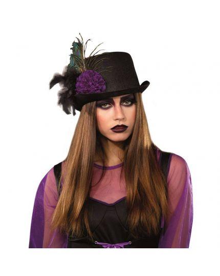 Cappello Cilindro Nero con Fiore Viola e Piume