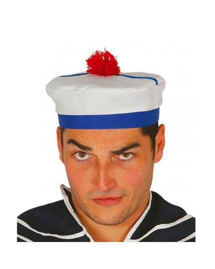 Cappello Marinaio con Pom Pom Rosso