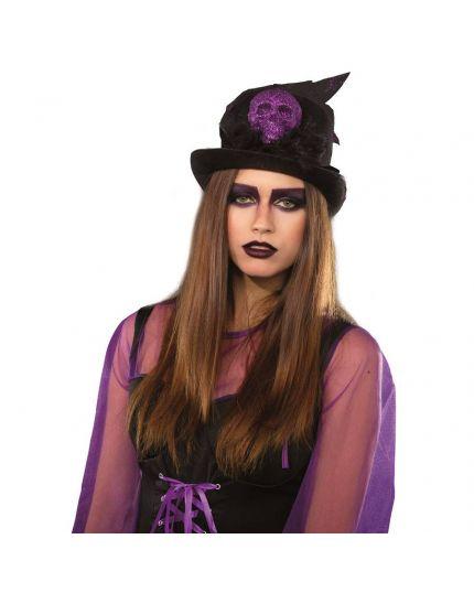 Cappello Cilindro Nero con Teschio Glitter e Piume