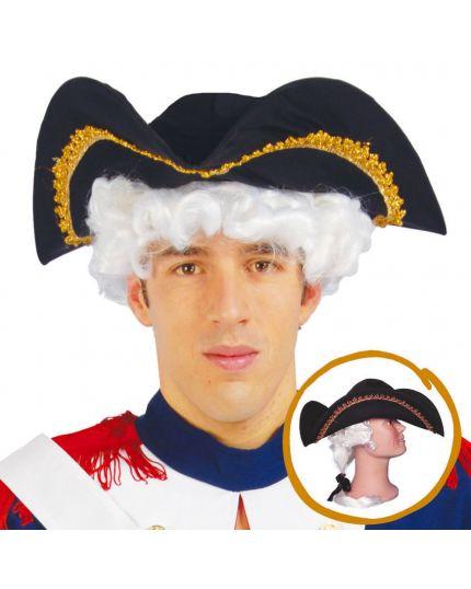Cappello Tricorno Ammiraglio con Capelli Bianchi Applicati