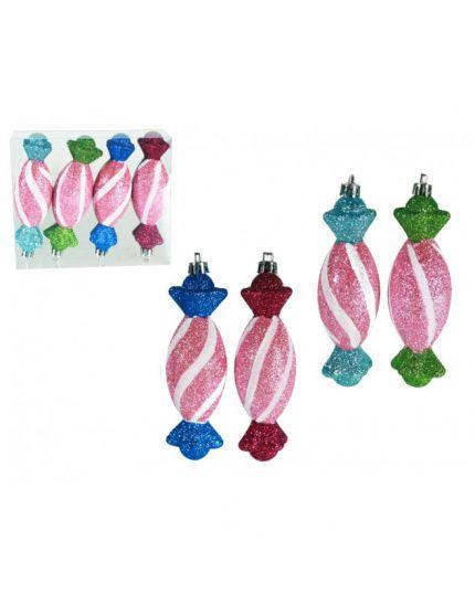 Decorazioni Caramelle Glitterate Multicolor Pvc Infrangibile 12cm