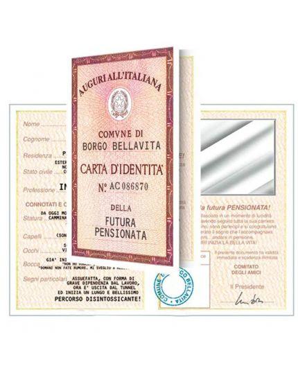 Biglietto Auguri Divertente Carta Identità - Futura Pensionata