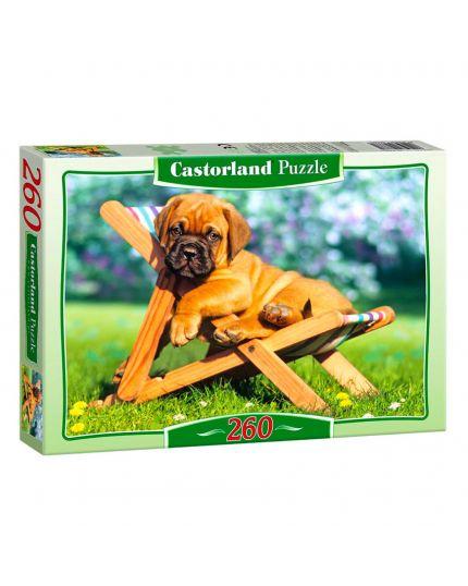 Puzzle Cucciolo Sulla Sedia A Sdraio 260 Pezzi 32x23 Cm