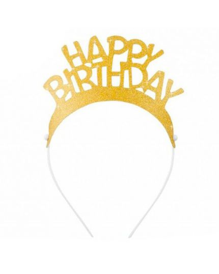 Cerchietti Coroncine Glitter Happy Birthday Oro