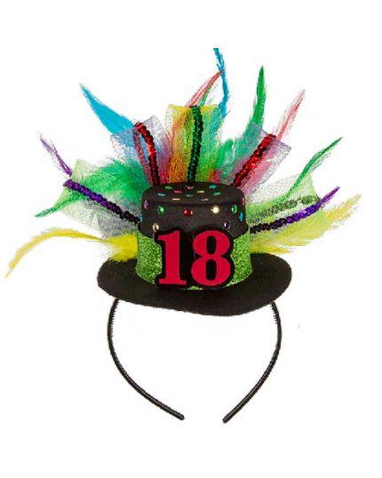 Cerchietto con Cappellino e Piume Multicolor 18 Anni