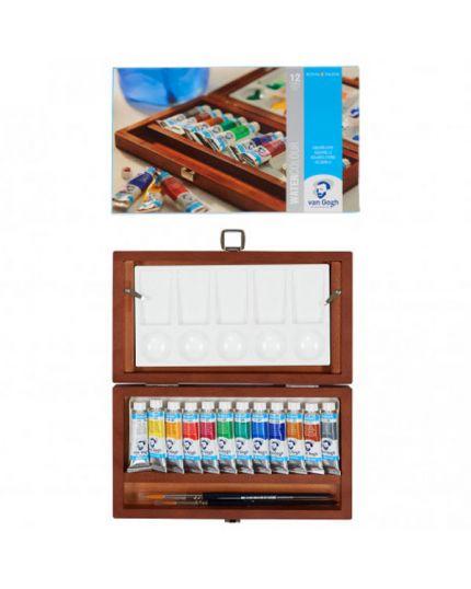 Scatola Box Legno Van Gogh Colori Acquerello con Pennelli Royal Talents 24x14cm