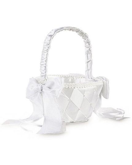 Cestino per Fiori Matrimonio Raso Bianco con Fiocchi e Perline Wilton 19cm