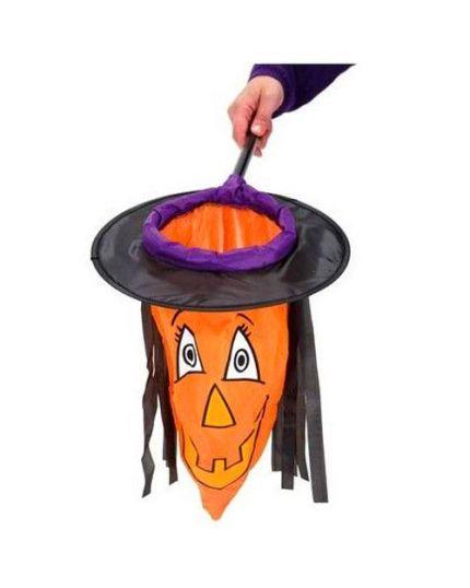 Cestino Retino per Dolcetti Halloween Strega con Cappello e Capelli 50cm