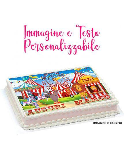Cialda per Torte Ostia Rettangolare Personalizzabile con la Tua Foto, Scritte ed Età