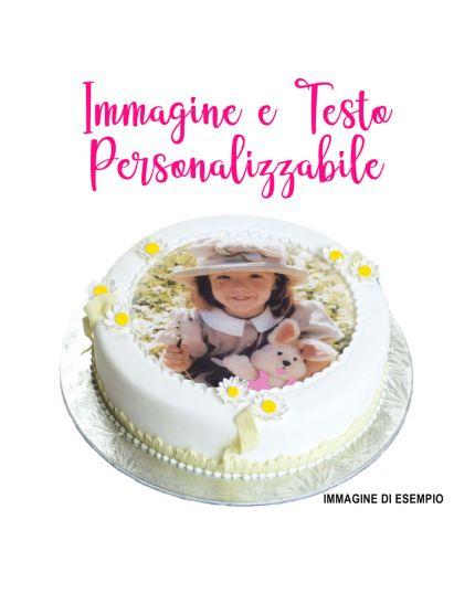 Cialda per Torte Ostia Rotonda Personalizzabile con la Tua Foto, Scritte ed Età