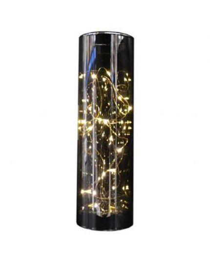Cilindro Vetro Decorativo con Gocce LED 30cm