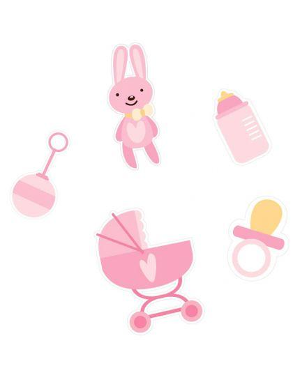 Coriandoli Confetti da Tavola Carta Baby Girl Rosa 4,5cm