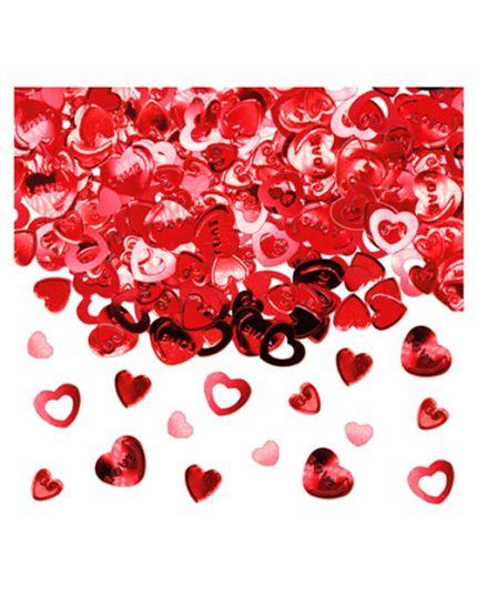 Coriandoli Confetti da Tavola Metallizzati Cuori Love Rossi 1cm