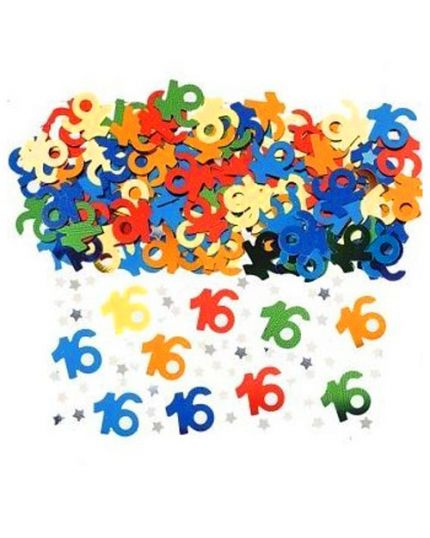 Coriandoli Confetti da Tavola Numero 16 Anni Metal Multicolor 1cm