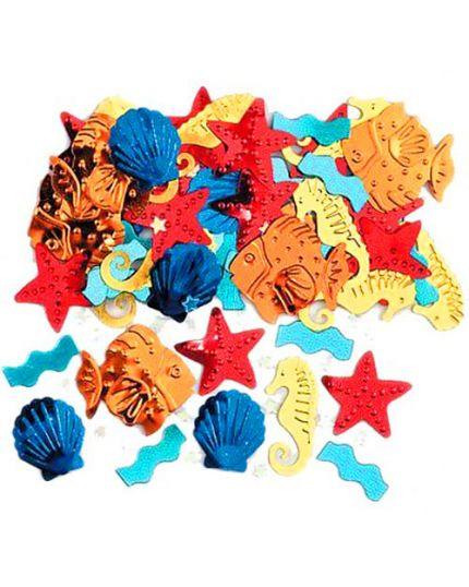 Coriandoli Confetti da Tavola Metallizzati Pesciolini e Animali Marini 2cm