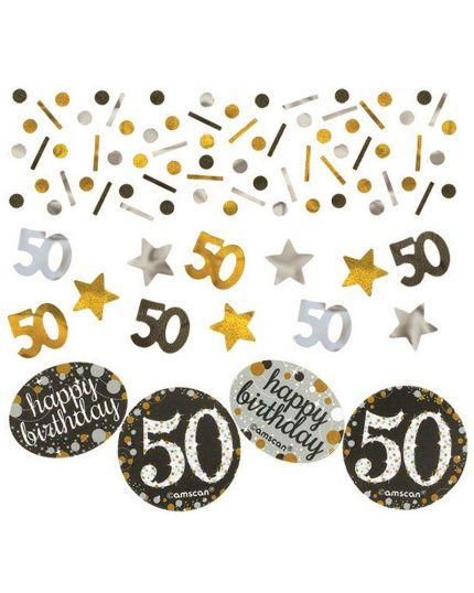 Confetti da Tavola 50 Anni Sparkling Argento e Oro 34gr
