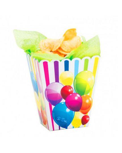 Contenitore Pop Corn Palloncini e Righe Multicolor