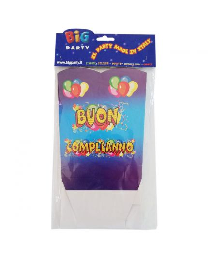 Contenitore Pop Corn o Caramelle Buon Compleanno Balloon 1pz 18cm