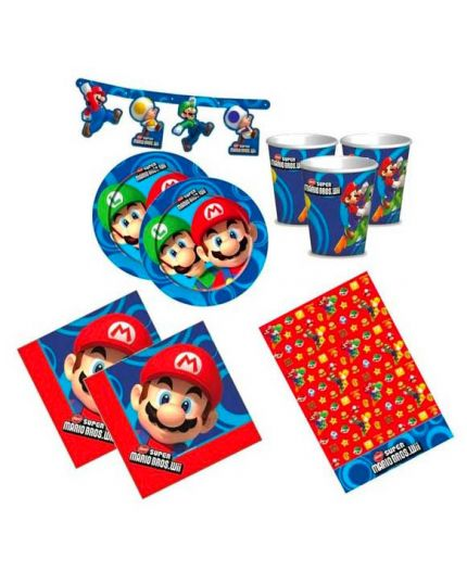 Kit Coordinato Tavola Super Mario Luigi Yoshi per 32 Persone