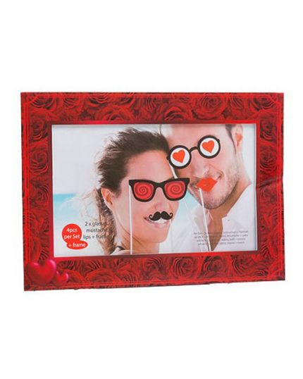 Cornice Photo Booth Rose Rosse con Bacchette