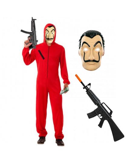 Costume Completo Casa de Papel - Tuta Maschera e Mitra